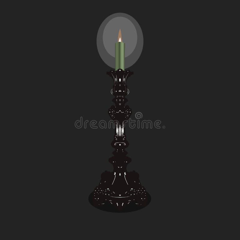 Vieux chandelier d'église en lequel une bougie brûle illustration libre de droits