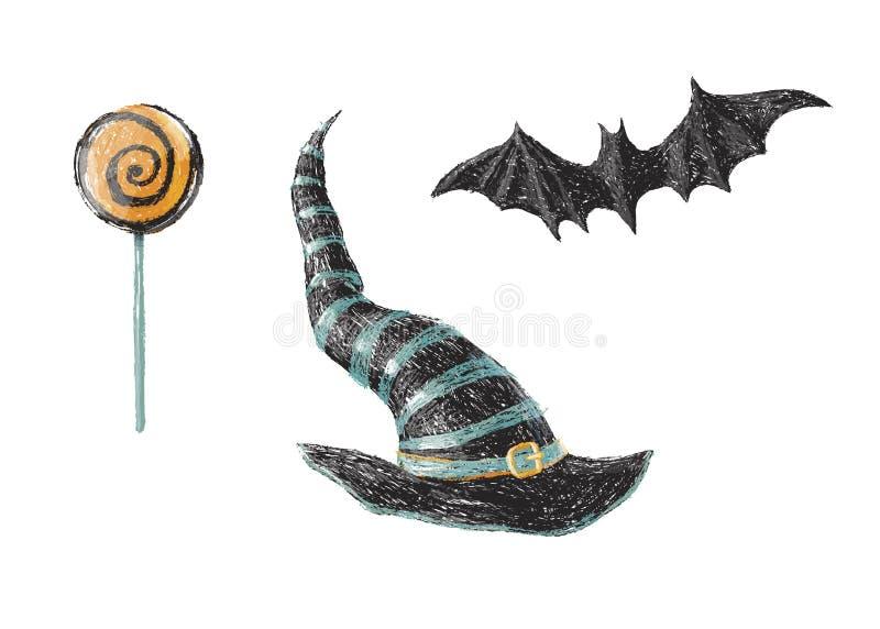 Vieux chapeau tiré par la main de sorcière, batte et lucette douce de Halloween d'isolement sur le fond blanc Dessin au crayon Co illustration stock