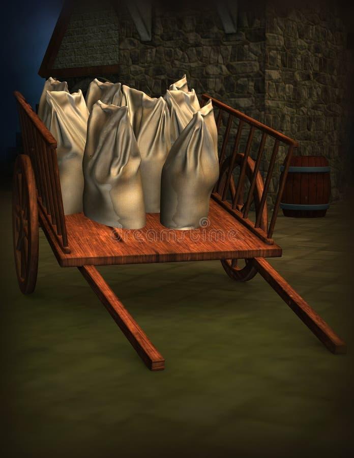Vieux chariot illustration libre de droits