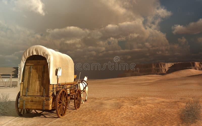 Vieux chariot dans le désert illustration stock