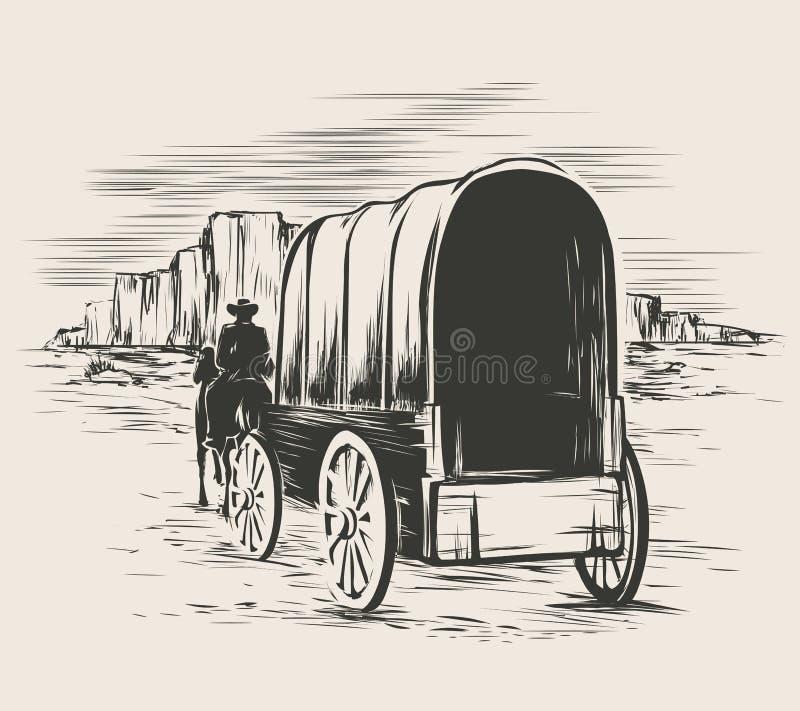 Vieux chariot dans les prairies occidentales sauvages illustration libre de droits