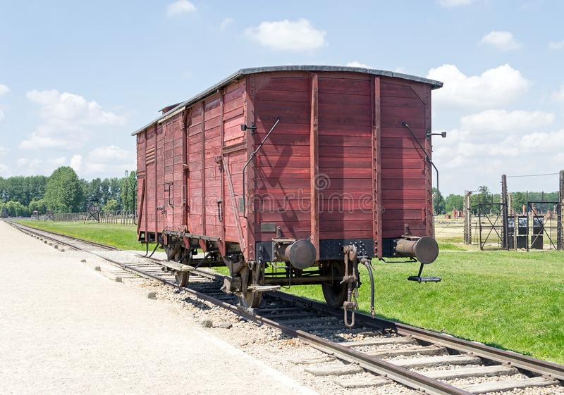 Vieux chariot de train de transport, camp de concentration d'Auschwitz-Birkenau photo libre de droits