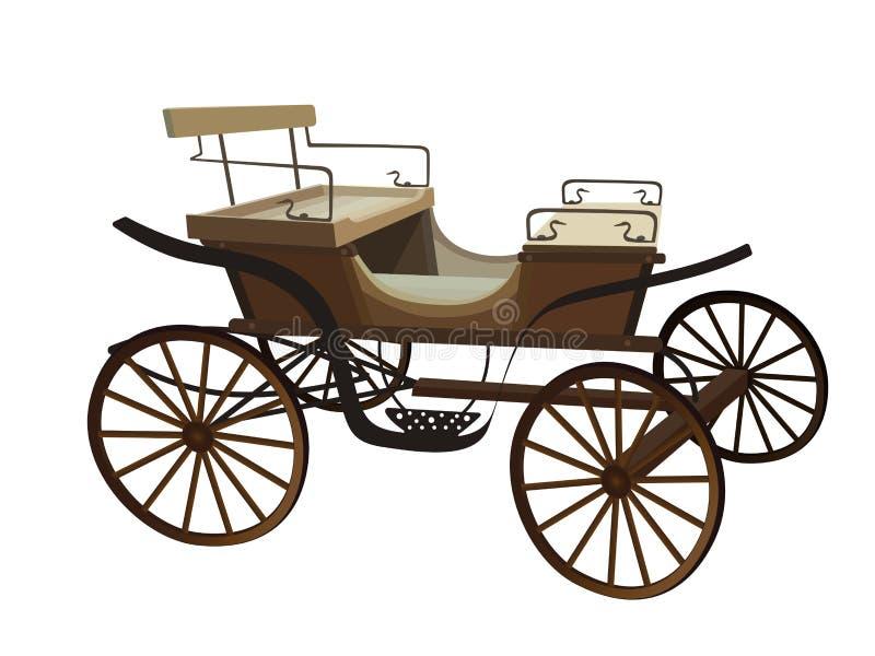 Vieux chariot pour les chevaux D'isolement sur le fond blanc illustration stock