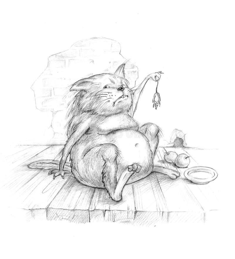 Vieux Chat Avec La Souris Photographie stock libre de droits