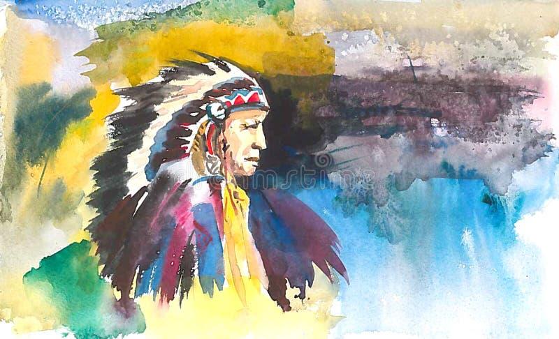 Vieux chef indien sur le fond abstrait de couleur illustration de vecteur