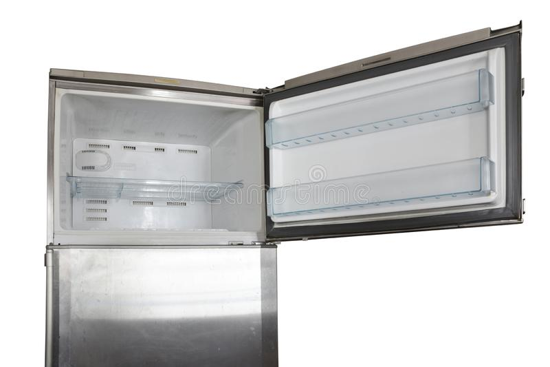 Vieux chemin de coupure ouvert de congélateur de réfrigérateur d'acier inoxydable sur le fond blanc photographie stock libre de droits