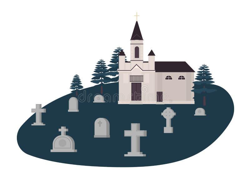 Vieux cimetière, cimetière ou cimetière avec des tombes, des pierres tombales ou des pierres tombales et église chrétienne, églis illustration de vecteur