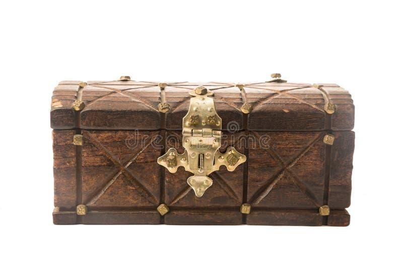Vieux coffre d'antiquité de vintage de bois d'isolement sur le blanc images stock