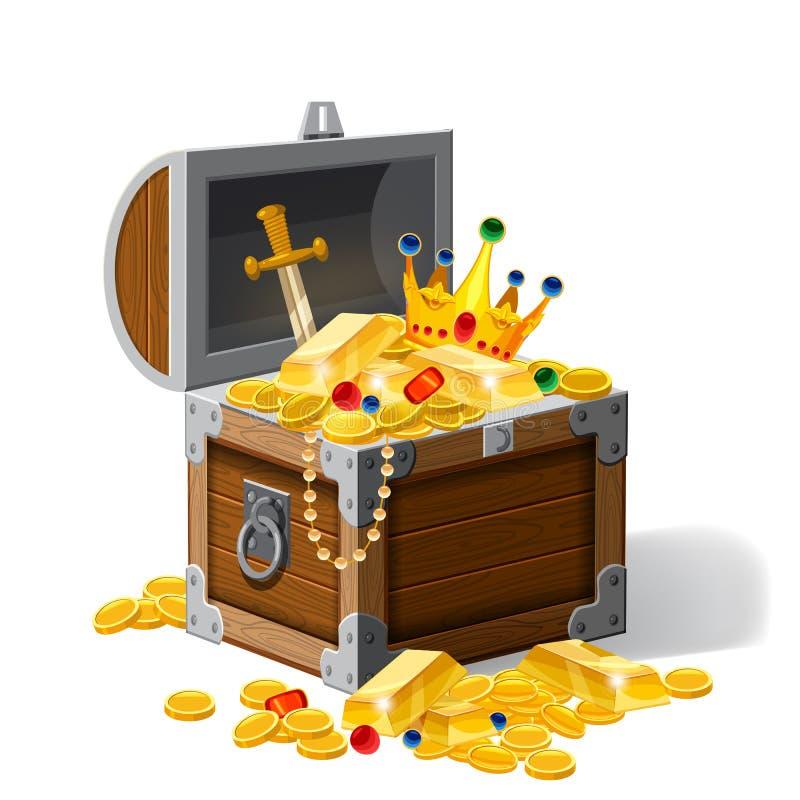 Vieux coffre de pirate complètement des trésors, pièces d'or, lingots, bijoux, couronne, poignard, vecteur, style de bande dessin illustration libre de droits