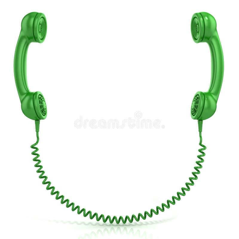 Vieux combinés verts de téléphone de mode reliés photos stock