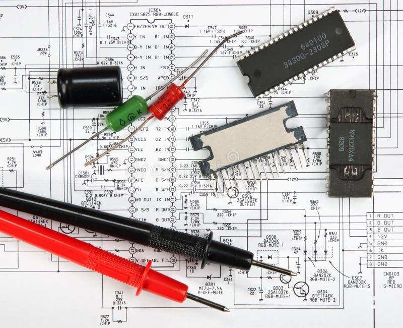 Vieux composants électroniques image stock