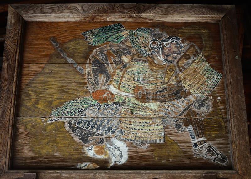 Vieux comprimé votif en bois de guerrier samouraï, Kyoto Japon photo stock