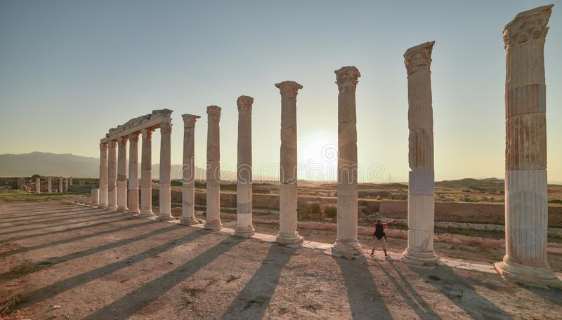 Vieux concept historique de colonnes image stock