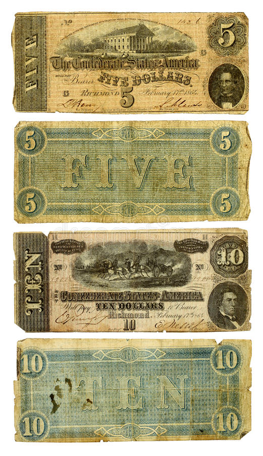 Vieux confédéré cinq et billets de dix dollars images libres de droits