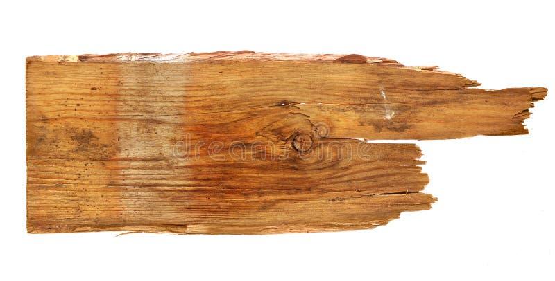 Vieux conseils en bois sur le fond blanc Fermez-vous vers le haut d'un signe en bois vide image libre de droits