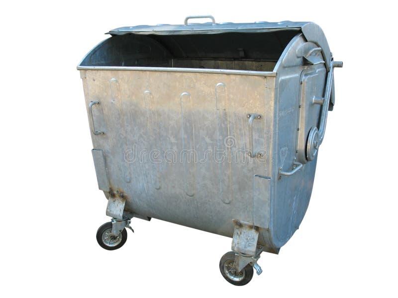 Vieux conteneur de détritus d'ordures en métal illustration stock