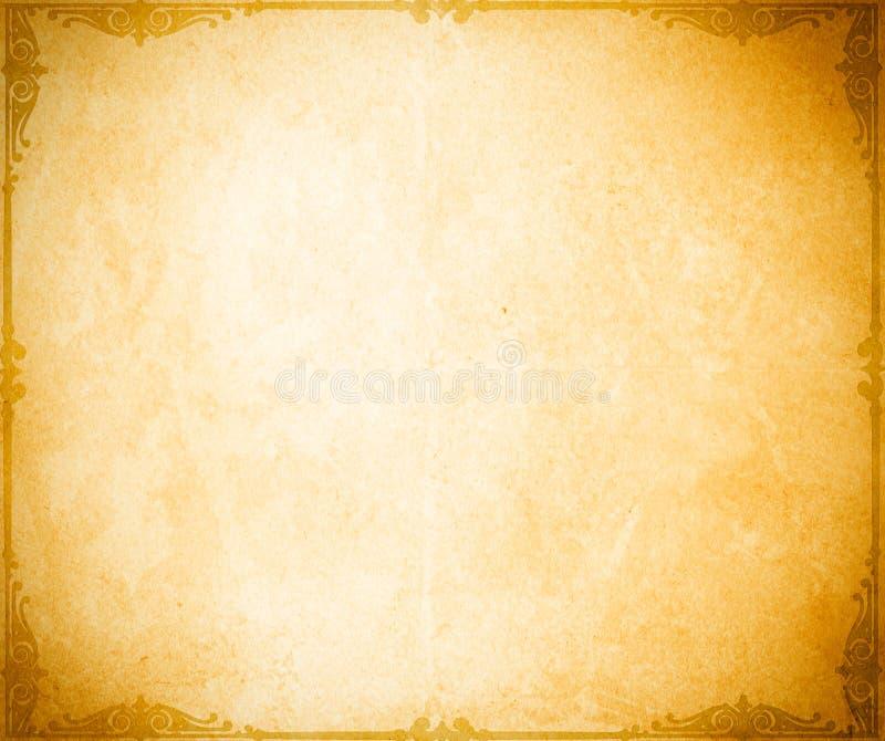 Vieux contexte de papier grunge avec la frontière décorative illustration de vecteur