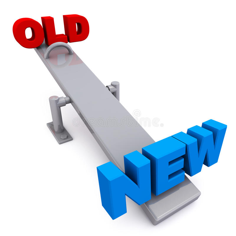 Vieux contre nouveau illustration stock