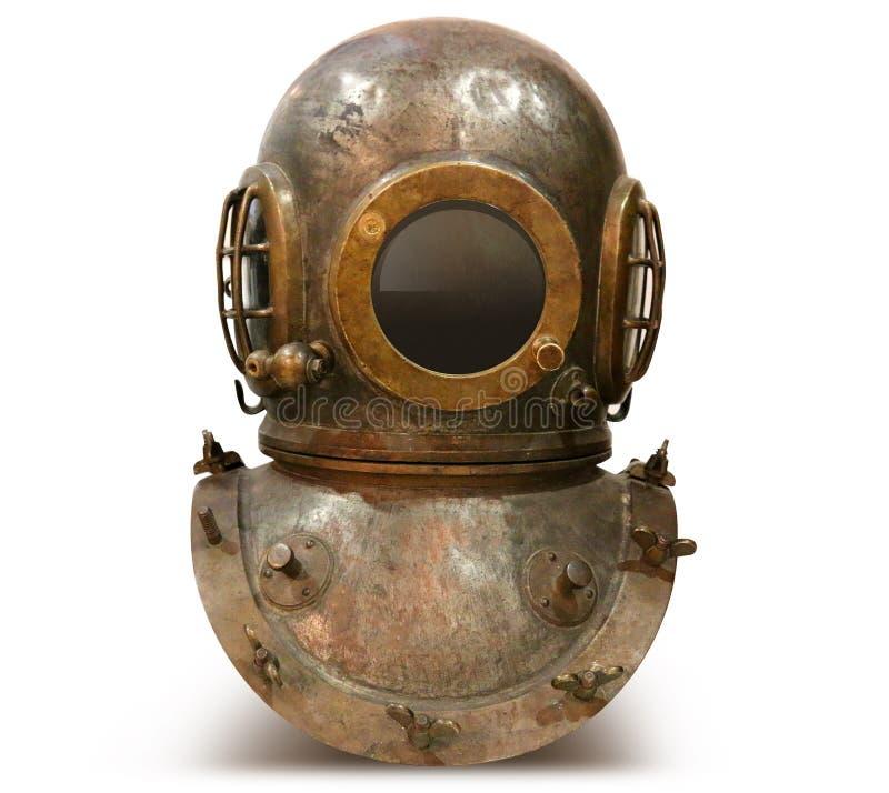 Vieux costume de plongée de cuivre de mer profonde de vintage image libre de droits