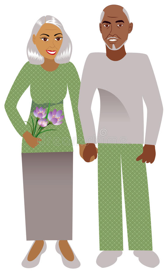 Vieux couples illustration stock