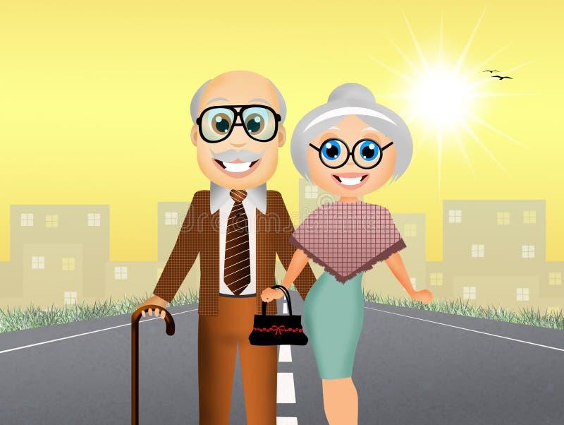Vieux couples illustration libre de droits
