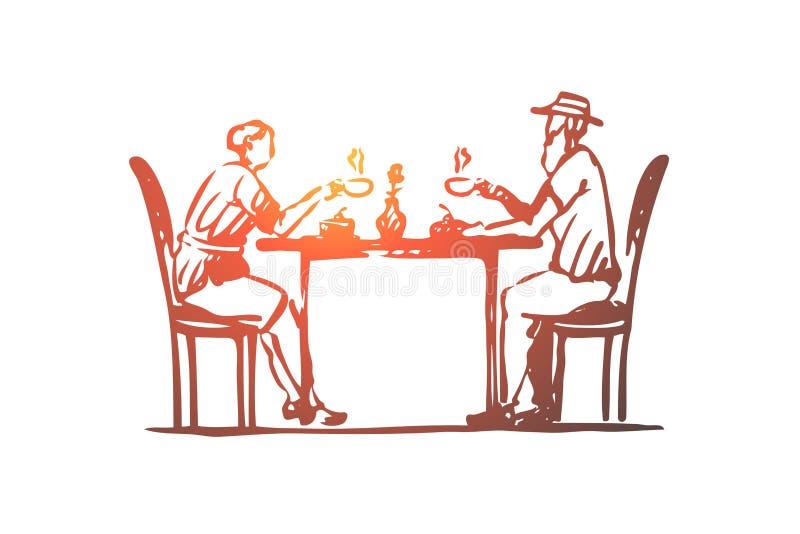Vieux, couples, café, aîné, concept de café Vecteur d'isolement tiré par la main illustration stock