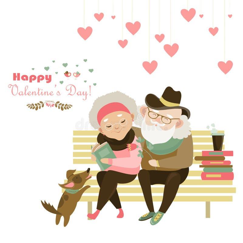 Vieux couples dans l'amour se reposant sur le banc illustration libre de droits