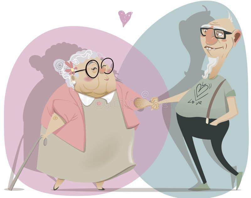 Vieux couples de bande dessinée dans l'amour illustration libre de droits