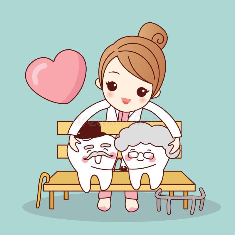 Vieux couples de dent de bande dessinée heureuse illustration stock