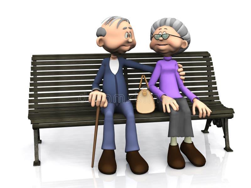 Vieux couples de dessin animé sur le banc. illustration stock
