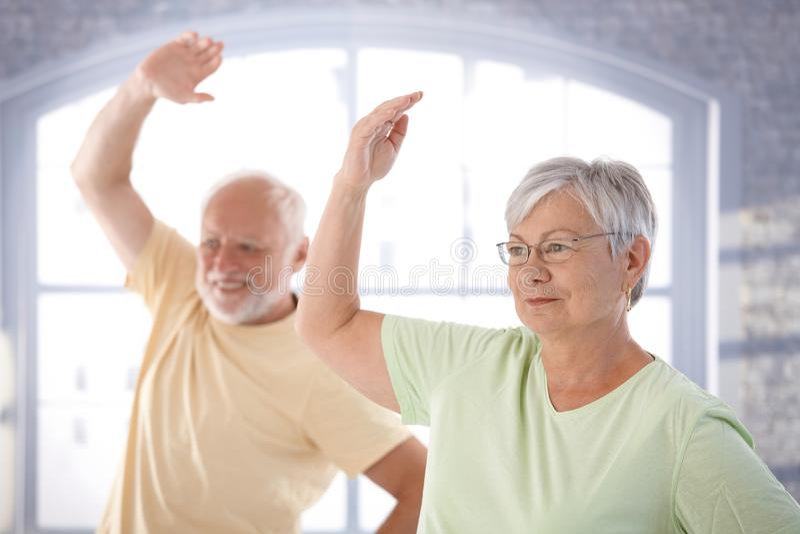 Vieux couples faisant des exercices photos libres de droits