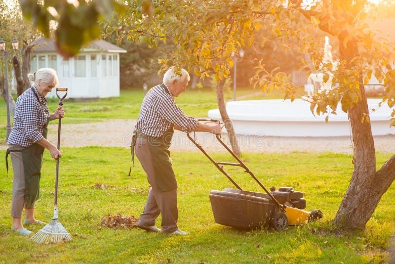 Vieux couples fonctionnant dans le jardin photo libre de droits