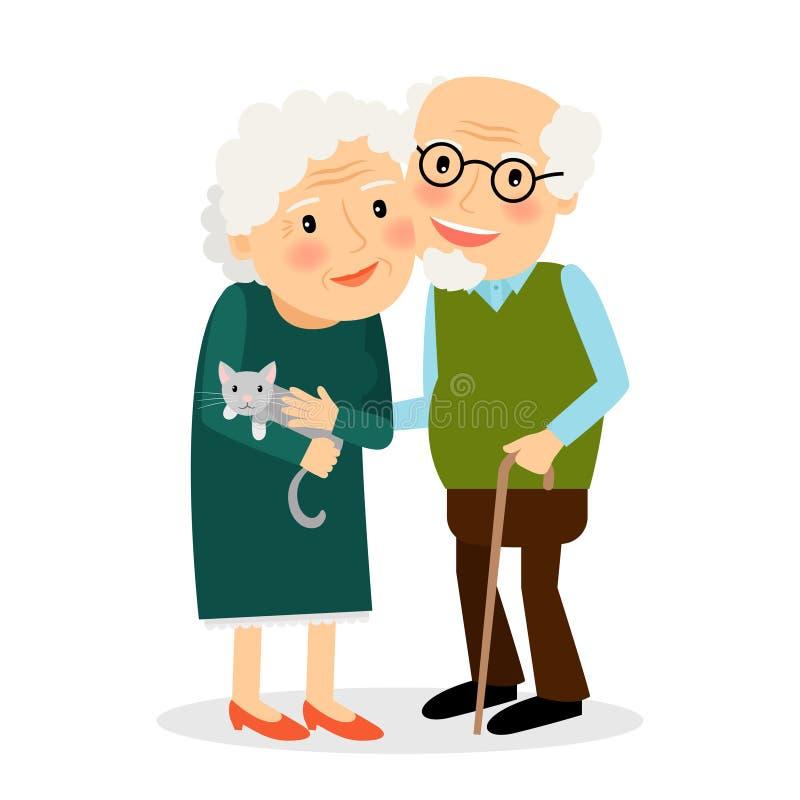 Vieux couples Grand-mère et grand-père illustration stock