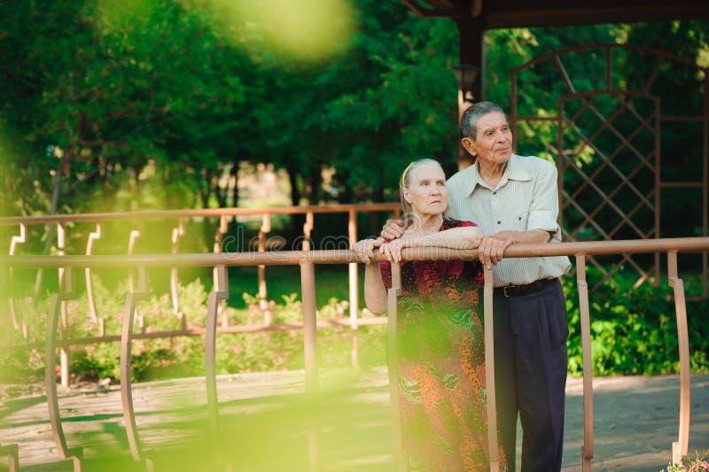 Vieux couples heureux en parc un jour ensoleillé photo libre de droits