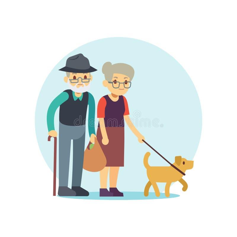 Vieux couples marchant avec le chien mignon Personnage de dessin animé de famille d'Eldery illustration stock