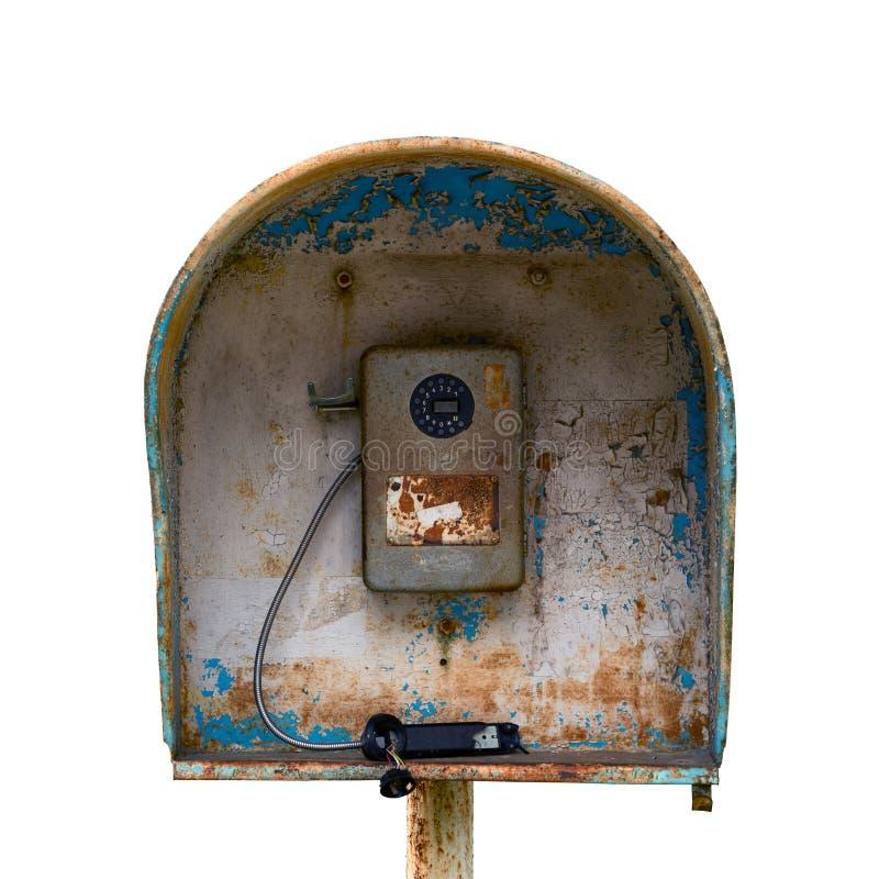 Vieux courrier urbain de câble russe public de téléphone - abandonné inutile et cassé D'isolement photographie stock libre de droits
