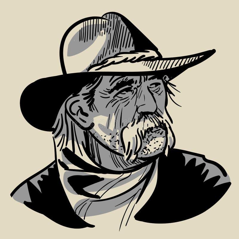 Vieux cowboy avec un chapeau Portrait Vecteur de dessin de main de croquis de Digital illustration stock