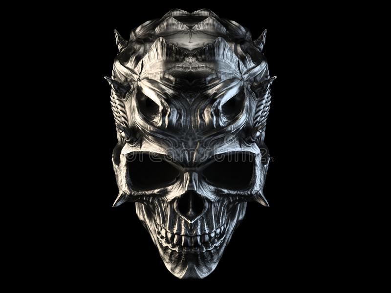 Vieux crâne argenté de démon avec des klaxons et des échelles illustration de vecteur