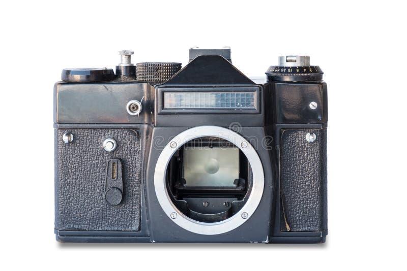 vieux cru d'appareil-photo en métal noir de cuir photographie stock libre de droits