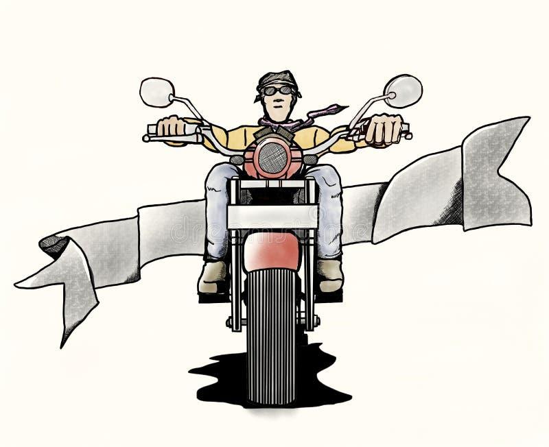 Vieux cyclistes dans le style de bande dessinée illustration stock