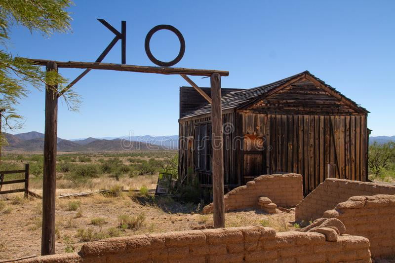 Vieux décor de film occidental sauvage dans le peyotl, Arizona photo stock