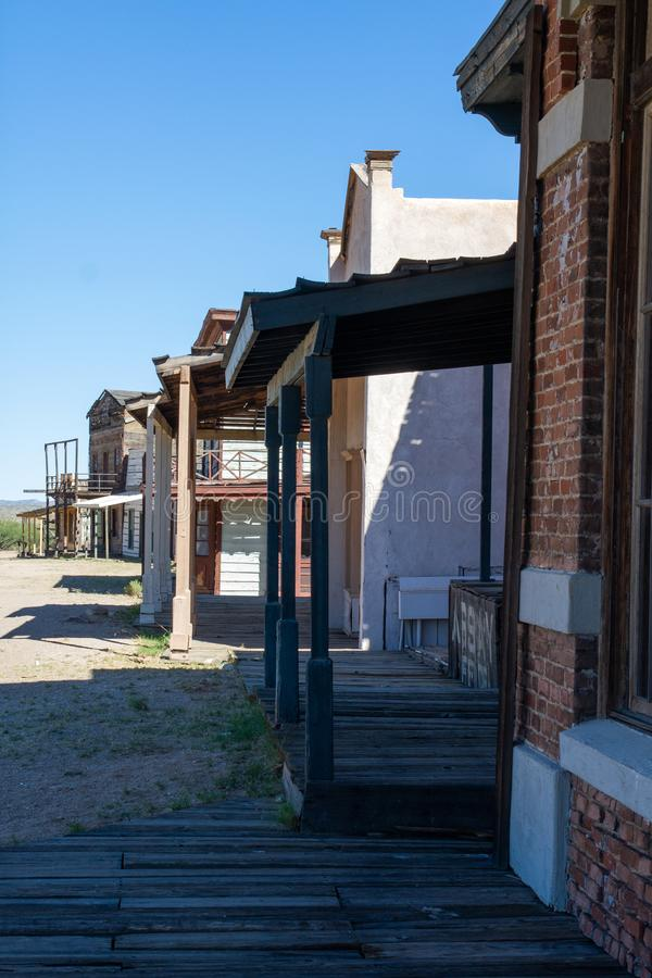 Vieux décor de film occidental sauvage de ville dans le peyotl, Arizona photos libres de droits