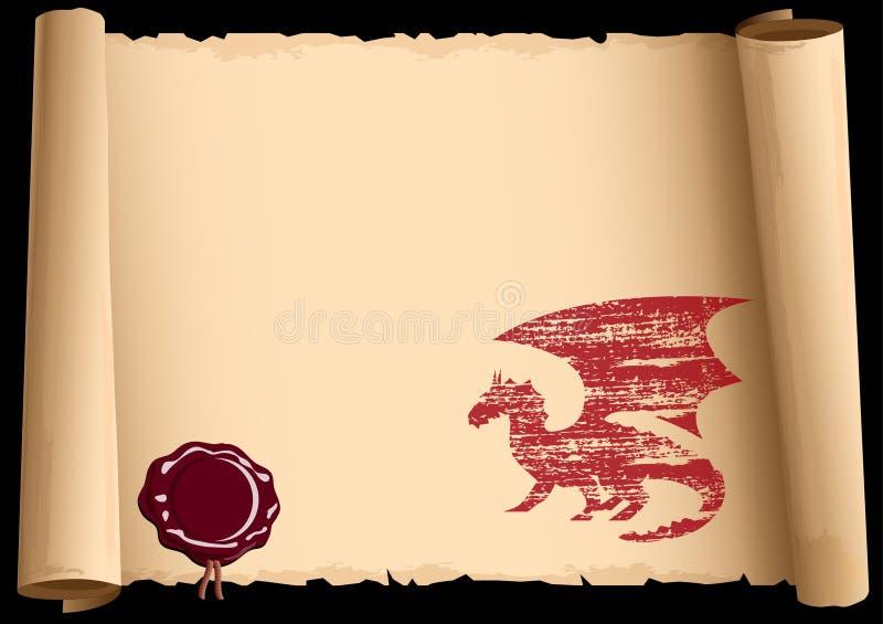 Vieux défilement avec le dragon illustration libre de droits