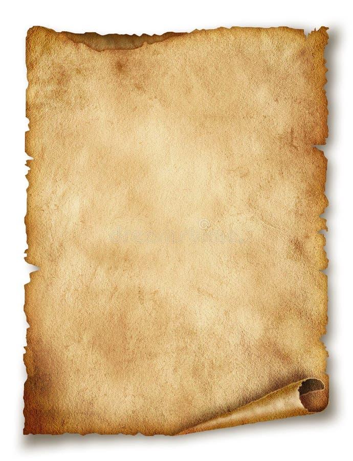 Vieux défilement de papier d'isolement sur le blanc images libres de droits