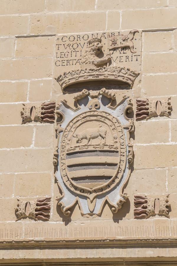 Vieux détail de façade de maison et de prison de justice, maintenant ville hôtel, Baeza, image libre de droits
