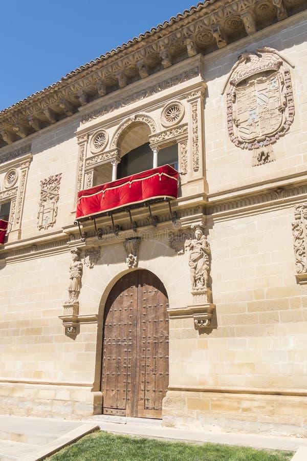 Vieux détail de façade de maison et de prison de justice, maintenant ville hôtel, Baeza, images libres de droits