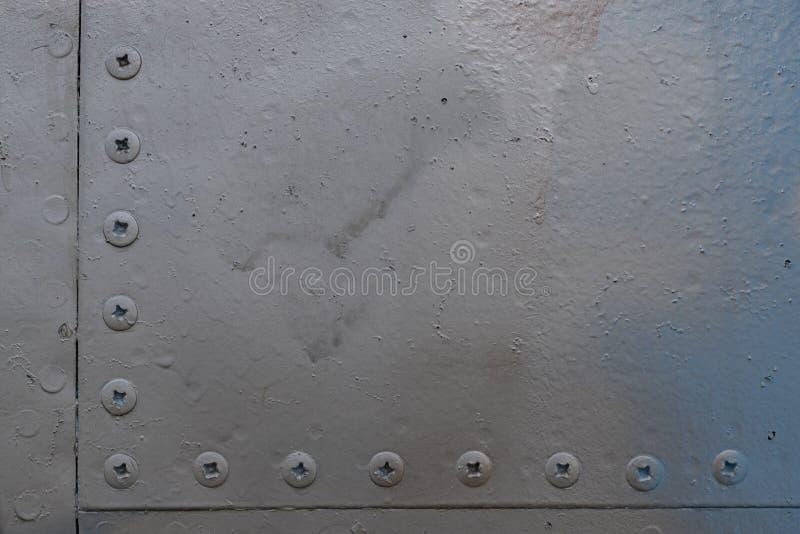 Vieux détail en aluminium de fond d'un avion militaire photo libre de droits