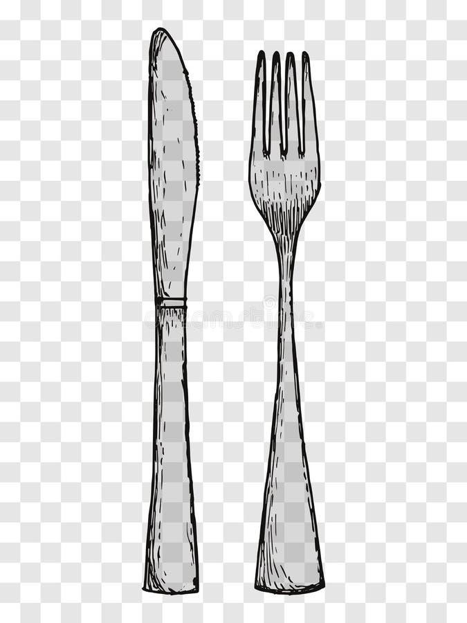 vieux dessin de main de fourchette et de couteau couverts sur un fond transparent illustration. Black Bedroom Furniture Sets. Home Design Ideas