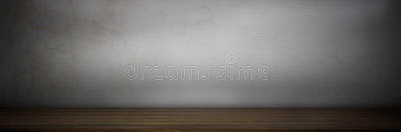 vieux dessus foncé de grung du fond en bois de plancher de table sur le mur gris photo libre de droits