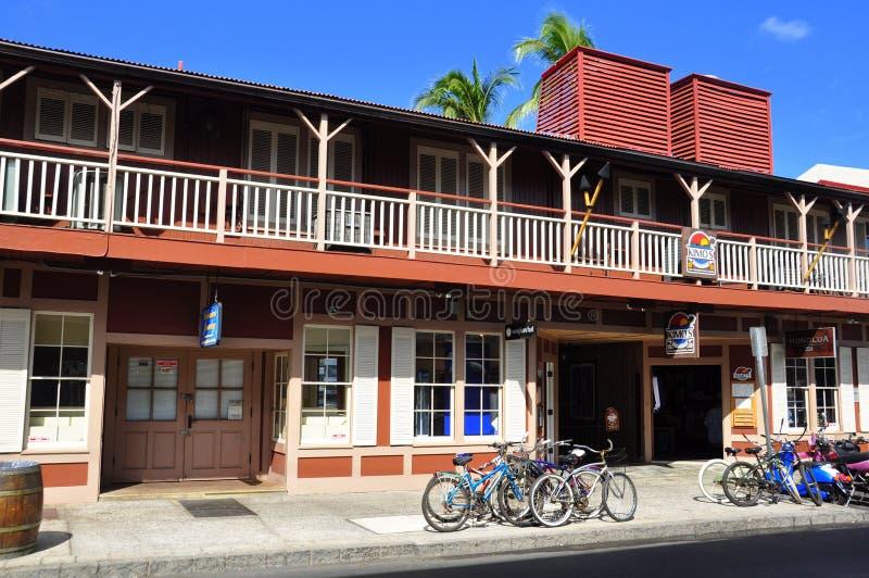 Vieux devanture de magasin de Lahaina, Maui image libre de droits